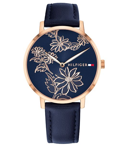 a4e8c013 Tommy Hilfiger Women's Navy Leather Strap Watch 35mm & Reviews ...