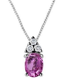 """Pink Sapphire (1-1/10 ct. t.w.) & Diamond (1/8 ct. t.w.) 16"""" Pendant Necklace in 14k White Gold"""