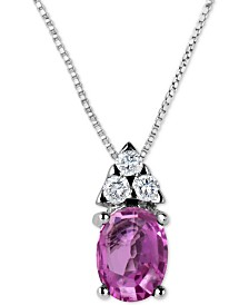 "Pink Sapphire (1-1/10 ct. t.w.) & Diamond (1/8 ct. t.w.) 16"" Pendant Necklace in 14k White Gold"