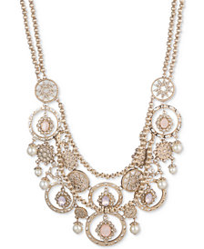 "Marchesa Gold-Tone Stone, Imitation Pearl and Pavé Multi-Row Statement Necklace, 16"" + 3"" extender"