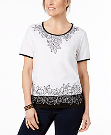 Alfred Dunner Barcelona Floral-Print Top