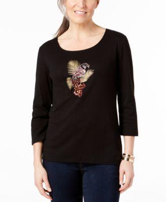 Karen Scott Womens Plus Cotton Embellished T-Shirt