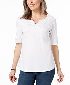 Karen Scott Cotton Tonal-Trim Top, Created for Macy's