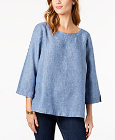Charter Club Linen Cutout-Back Top, Created for Macy's