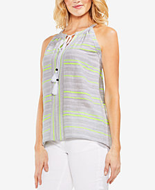 Vince Camuto Striped Tassel-Tie Top