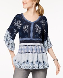 Style & Co Mixed-Print Crochet Peasant Top, Created for Macy's