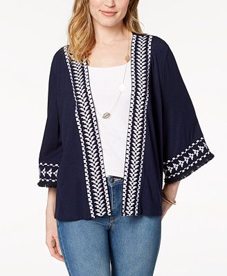Petite Embroidered Fringed Kimono Jacket, Created For Macy's by Style & Co