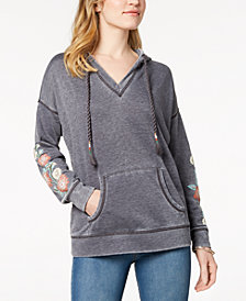 Style & Co Embroidered Hoodie, Created for Macy's