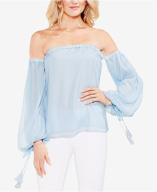 0bb6761fa967a Vince Camuto Off-The-Shoulder Tassel-Detail Top   Reviews - Tops ...