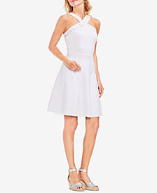 Vince Camuto Crisscross-Neck Perforated Dress