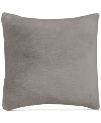 """Gray Faux-Fur 18"""" Square Pair of Decorative Pillows"""