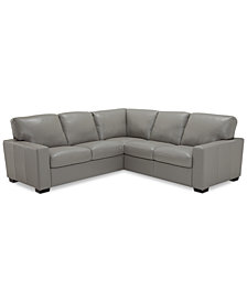 Ennia 2-Pc. Leather Sectional Sofa, Created for M