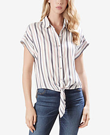 Karen Kane Striped Tie-Hem Shirt