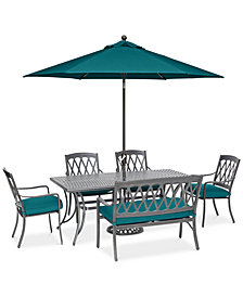 "CLOSEOUT! Glenwood Outdoor 6-Pc. Dining Set (72"" x 38"" Dining Table, 4 Dining Chairs & 1 Bench) with Sunbrella® Cushions, Created for Macy's"
