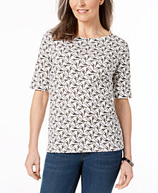 Karen Scott Petite Cotton Printed Boat-Neck Top, Created for Macy's