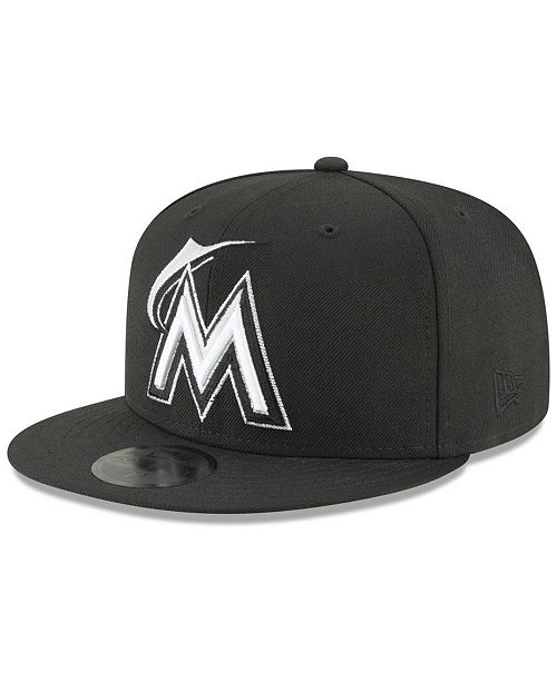 detailing 0c240 0ff56 ... New Era Miami Marlins Blackout 59FIFTY FITTED Cap ...