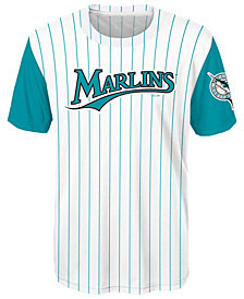 Outerstuff Miami Marlins Coop Poly Blank T-Shirt, Big Boys (8-20)