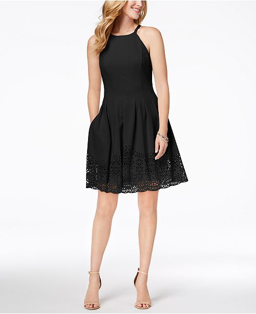 3e99960f14d94 Vince Camuto Laser-Cut Fit & Flare Dress & Reviews - Dresses - Women ...
