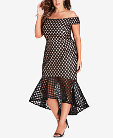 City Chic Trendy Plus Size Mesh Mermaid Dress
