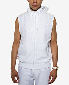 Sean John Men's White Party Linen Blend Sleeveless Zip-Front Hoodie