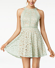 Crystal Doll Juniors' Lace Fit & Flare Dress