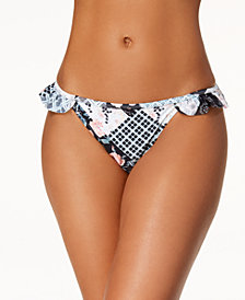 California Waves Printed Ruffled Cheeky Bikini Bottoms, Created for Macy's