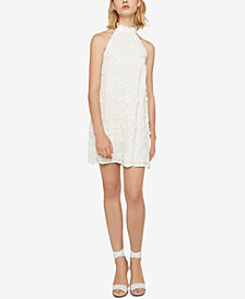 BCBGeneration Mock-Neck Frayed Floral Dress