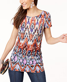 I.N.C. Printed Ruched Burnout Top, Created for Macy's