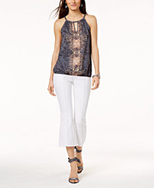 I.N.C. Printed Halter Top & Cropped Flare-Leg Jeans, Created for Macy's