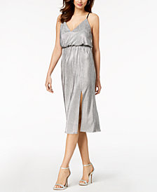 BCBGeneration Metallic-Pleated Midi Dress