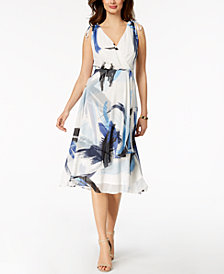 Taylor Printed Blouson Midi Dress