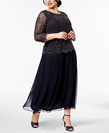 XSCAPE Plus Size Embellished-Bodice Gown