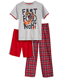 Max & Olivia 3-Pc. Graphic-Print Pajama Set, Little & Big Boys