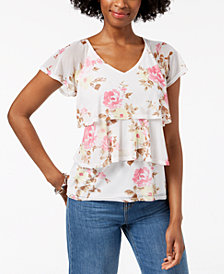 NY Collection Petite Printed Tiered-Mesh Top
