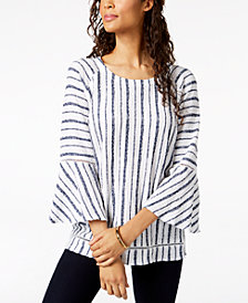 JM Collection Striped Ladder-Trim Top, Created for Macy's