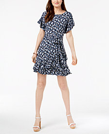 MICHAEL Michael Kors Petite Printed Ruffled Wrap Dress