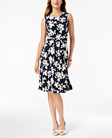 Charter Club Petite Printed Belted Dress, Created for Macy's