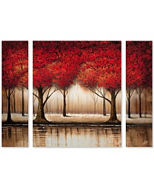 "Rio 'Parade of Red Trees' Multi Panel Art Set Large - 41"" x 30"" x 2"""
