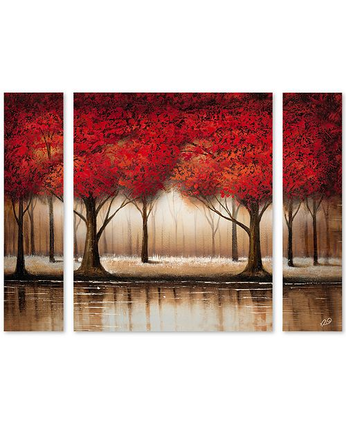 """Trademark Global Rio 'Parade of Red Trees' Multi Panel Art Set Small - 32"""" x 24"""" x 2"""""""