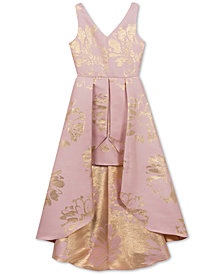 Rare Editions Big Girls Metallic Floral Maxi Overlay Dress