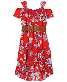 Speechless Big Girls Floral-Print Ruffle-Trim Dress