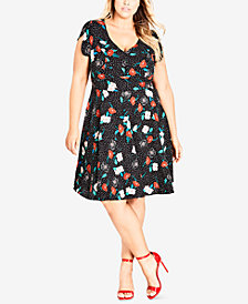 City Chic Trendy Plus Size Floral-Print Dress