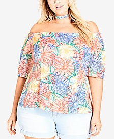 Trendy Plus Size Off-The-Shoulder Choker Top