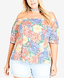 City Chic Trendy Plus Size Off-The-Shoulder Choker Top