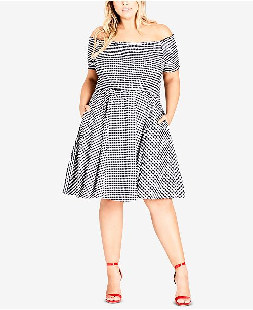 City Chic Trendy Plus Size Cotton Gingham Smocked Dress Dresses