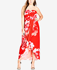 City Chic Trendy Plus Size Printed Draped-Front Gown