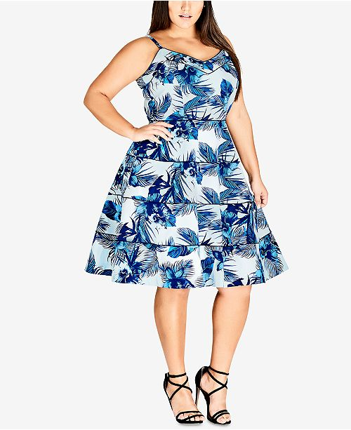 City Chic Trendy Plus Size Blue Hawaii Printed Fit & Flare ...