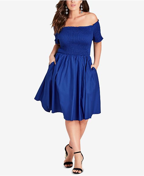 a47c6fb9c17 ... City Chic Trendy Plus Size Smocked Off-The-Shoulder Dress ...