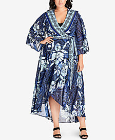 City Chic Trendy Plus Size Kimono Maxi Dress
