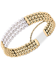 Majorica Gold Tone Bead Imitation Pearl Bangle Bracelet
